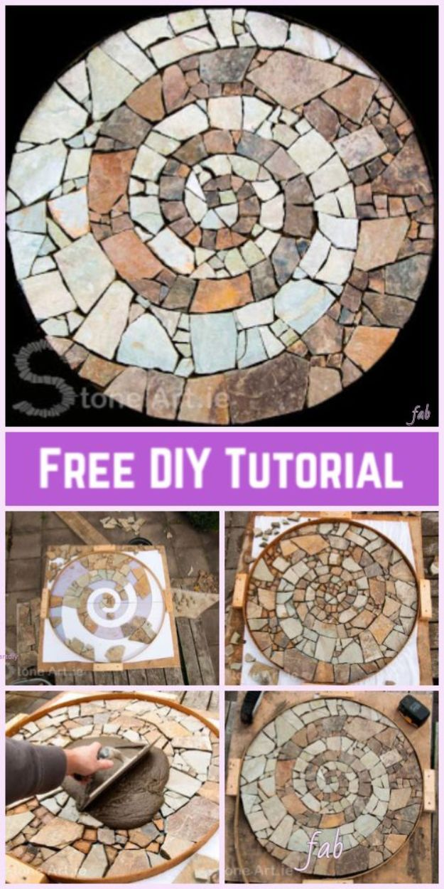 DIY Walkways - DIY Mosaic Garden Stepping Stone Walkway - Do It Yourself Walkway Ideas for Paths to The Front Door and Backyard - Cheap and Easy Pavers and Concrete Path and Stepping Stones - Wood and Edging, Lights, Backyard and Patio Walks With Gravel, Sand, Dirt and Brick http://diyjoy.com/diy-walkways
