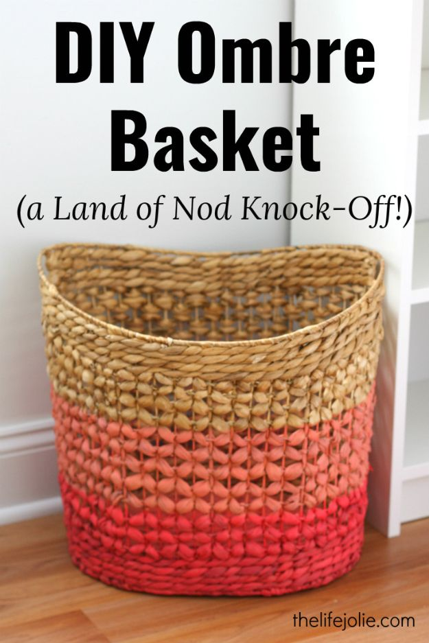 DIY Home Decor Projects for Beginners - DIY Ombre Basket - Easy Homemade Decoration for Your House or Apartment - Creative Wall Art, Rugs, Furniture and Accessories for Kitchen - Quick and Cheap Ways to Decorate on A Budget - Farmhouse, Rustic, Modern, Boho and Minimalist Style With Step by Step Tutorials #diy