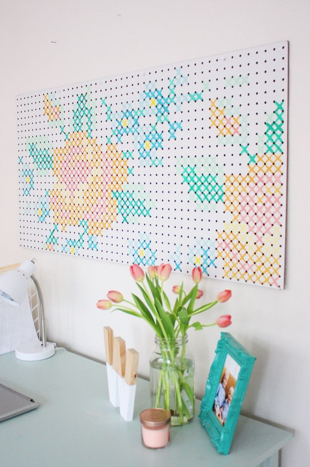 Craft Room Organization Ideas - DIY Painted Cross Stitch Art - DIY Dollar Store Projects for Crafts - Budget Ways to Declutter While Organizing Supplies - Shelves, IKEA Hacks, Small Space Ideas