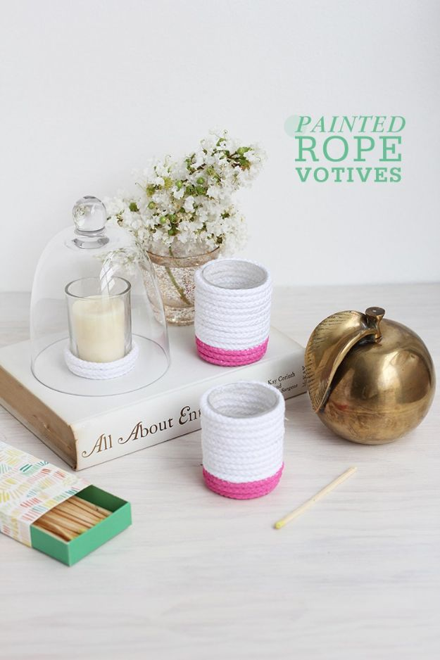 Craft Room Organization Ideas - DIY Painted Rope Votives - DIY Dollar Store Projects for Crafts - Budget Ways to Declutter While Organizing Supplies - Shelves, IKEA Hacks, Small Space Ideas