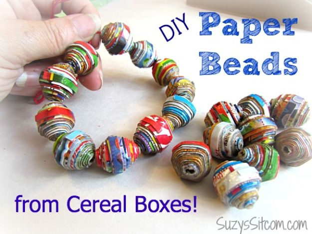 Cool DIY Ideas With Cereal Boxes - DIY Paper Beads - Easy Organizing Ideas, Cute Kids Crafts and Creative Ways to Make Things Out of A Cereal Box - Cheap Gifts, DIY School Supplies and Storage Ideas http://diyjoy.com/diy-ideas-cereal-boxes