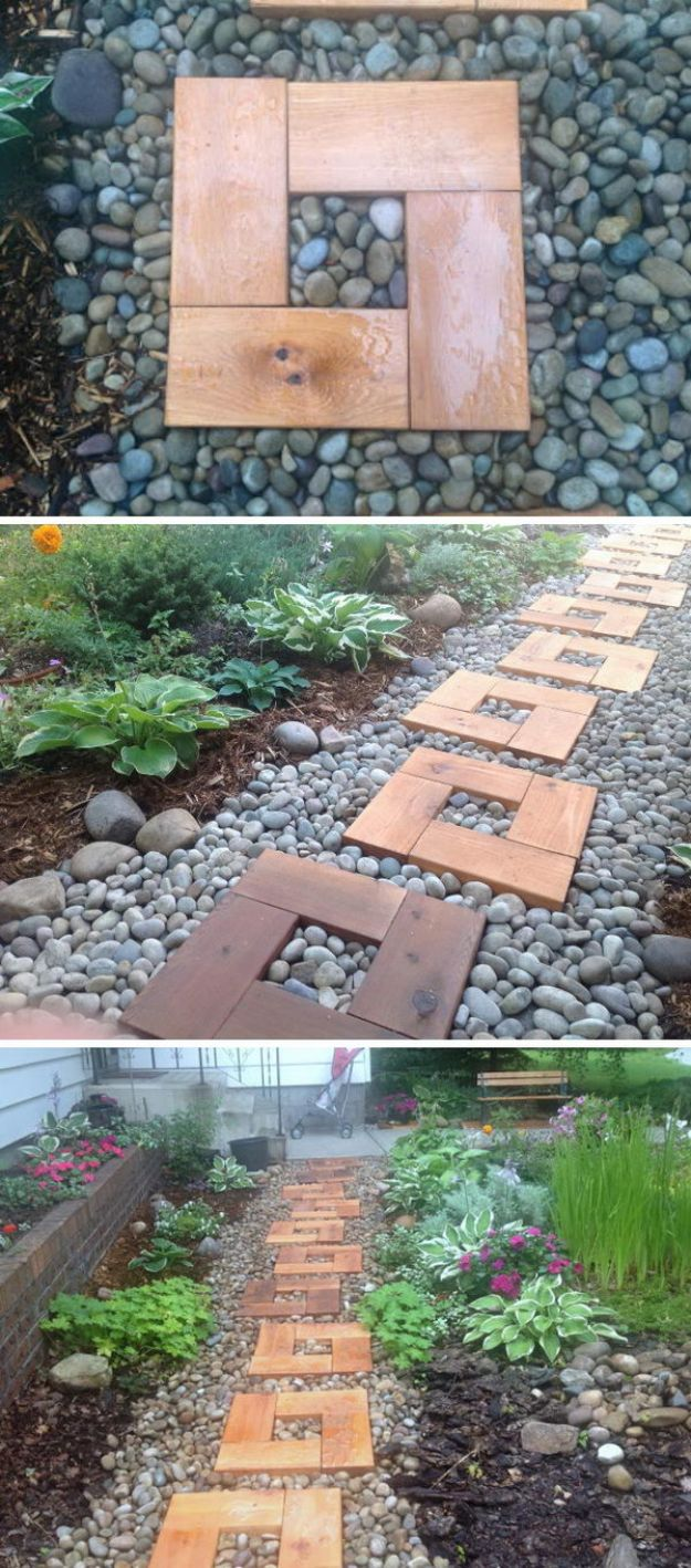 DIY Pathway of Cedar Stepping Stones and River Rock