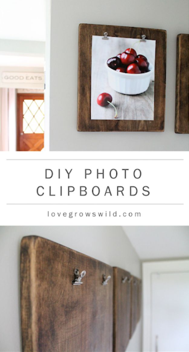 DIY Home Decor Projects for Beginners - DIY Photo Clipboards- Easy Homemade Decoration for Your House or Apartment - Creative Wall Art, Rugs, Furniture and Accessories for Kitchen - Quick and Cheap Ways to Decorate on A Budget - Farmhouse, Rustic, Modern, Boho and Minimalist Style With Step by Step Tutorials #diy