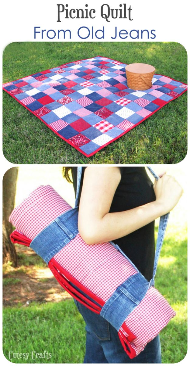 Blue Jean Upcycles - DIY Picnic Quilt from Old Jeans - Ways to Make Old Denim Jeans Into DIY Home Decor, Handmade Gifts and Creative Fashion - Transform Old Blue Jeans into Pillows, Rugs, Kitchen and Living Room Decor, Easy Sewing Projects for Beginners http://diyjoy.com/diy-blue-jeans-upcyle-ideas