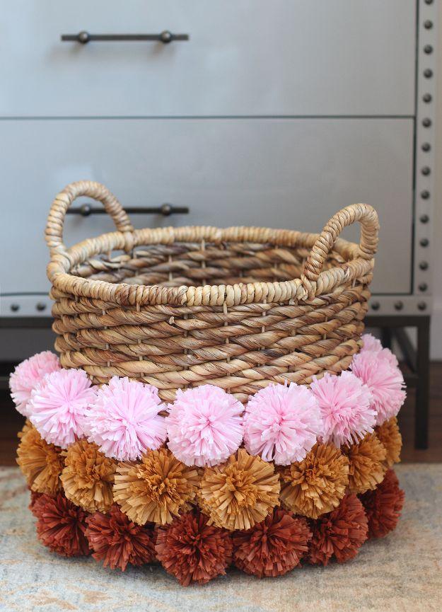 DIY Boho Decor Ideas - DIY Pom Pom Basket - DIY Bedroom Ideas - Cheap Hippie Crafts and Bohemian Wall Art - Easy Upcycling Projects for Living Room, Bathroom, Kitchen #boho #diy #diydecor
