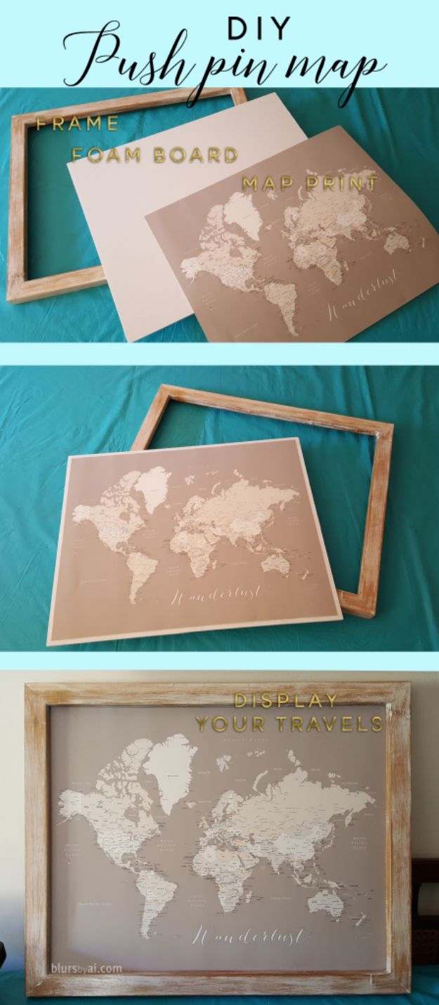 DIY Ideas With Maps - DIY Push Pin Map - Easy Crafts, Home Decor, Art and Gifts Your Can Make With A Map - Pinboard, Canvas, Painting, Paper Flowers, Signs Projects