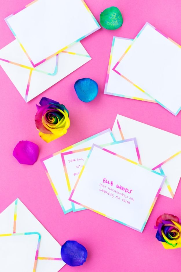 DIY Stationery Ideas - DIY Rainbow Edged Stationery - Easy Projects for Making, Decorating and Embellishing Stationary - Cute Personal Papers and Cards With Creative Art Ideas and Designs - Monogram and Brush Lettering Tips and Tutorials for Envelopes and Notebook - Stencil, Marble, Paint and Ink, Emboss Tutorials - A Handmade Card Set or Box Makes An Awesome DIY Gift Idea - Printables and Cool Ideas for Kids http://diyjoy.com/diy-stationery-ideas