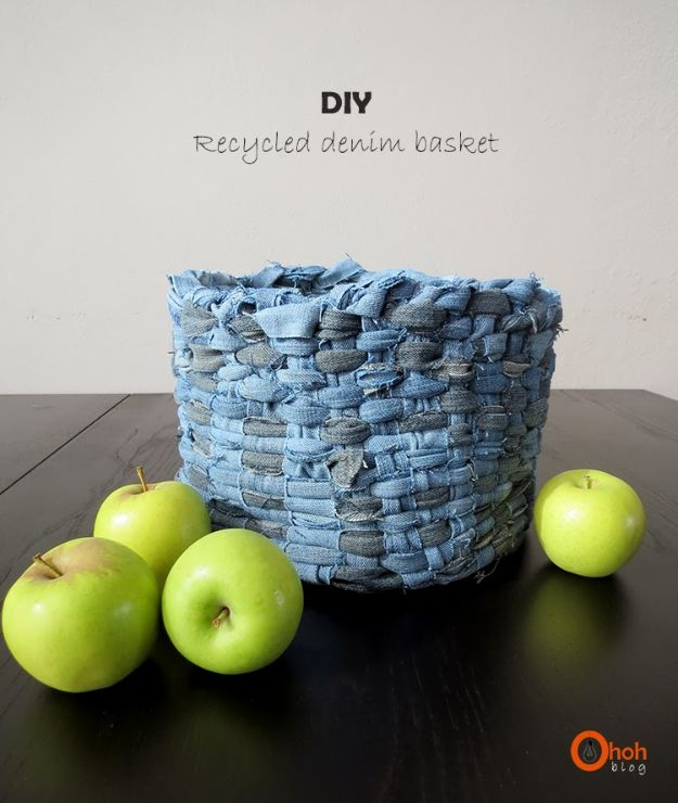 Blue Jean Upcycles - DIY Recycled Denim Basket - Ways to Make Old Denim Jeans Into DIY Home Decor, Handmade Gifts and Creative Fashion - Transform Old Blue Jeans into Pillows, Rugs, Kitchen and Living Room Decor, Easy Sewing Projects for Beginners http://diyjoy.com/diy-blue-jeans-upcyle-ideas