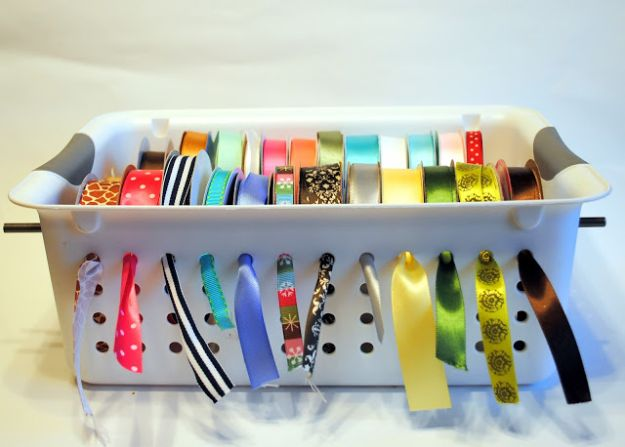 Dollar Store Organizing Ideas - DIY Ribbon Organizer - Easy Organization Projects from Dollar Tree and Dollar Stores - Quick Closet Makeovers, Pantry Storage, Shoe Box Projects, Tension Rods, Car and Household Cleaning - Hacks and Tips for Organizing on a Budget - Cheap Idea for Reducing Clutter around the House, in the Kitchen and Bedroom http://diyjoy.com/dollar-store-organizing-ideas