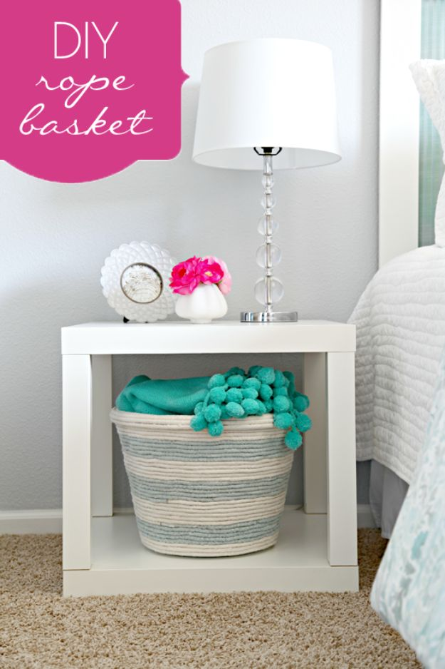 Dollar Store Organizing Ideas - DIY Rope Basket - Easy Organization Projects from Dollar Tree and Dollar Stores - Quick Closet Makeovers, Pantry Storage, Shoe Box Projects, Tension Rods, Car and Household Cleaning - Hacks and Tips for Organizing on a Budget - Cheap Idea for Reducing Clutter around the House, in the Kitchen and Bedroom http://diyjoy.com/dollar-store-organizing-ideas