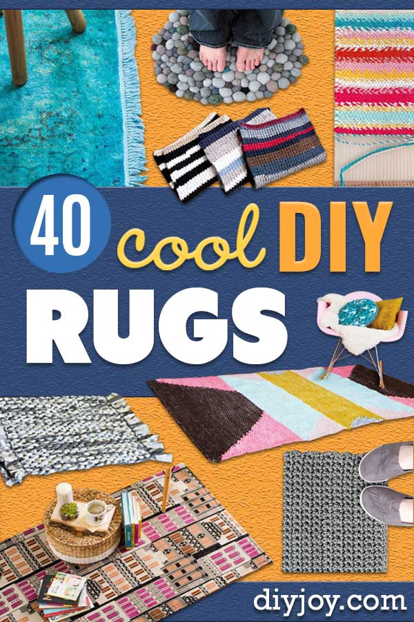 DIY Rugs - Ideas for An Easy Handmade Rug for Living Room, Bedroom, Kitchen Mat and Cheap Area Rugs You Can Make - Stencil Art Tutorial, Painting Tips, Fabric, Yarn, Old Denim Jeans, Rope, Tshirt, Pom Pom, Fur, Crochet, Woven and Outdoor Projects - Large and Small Carpet #diy #diyideas #rugs #homedecor #diyhomedecor http://diyjoy.com/diy-rug-tutorials