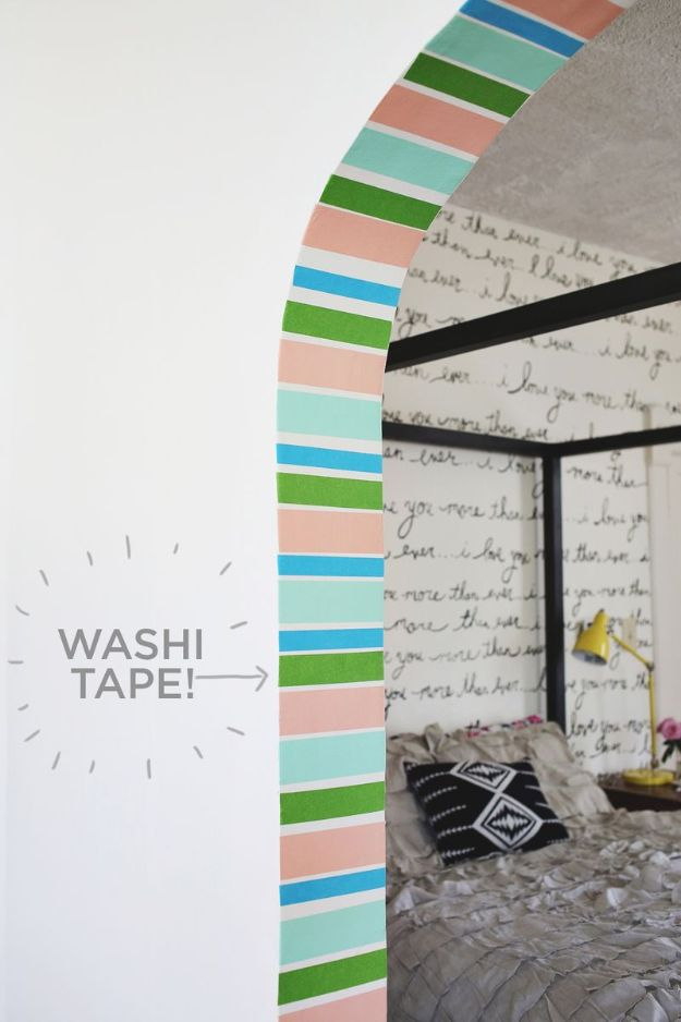 Craft Room Organization Ideas - DIY Striped Doorway - DIY Dollar Store Projects for Crafts - Budget Ways to Declutter While Organizing Supplies - Shelves, IKEA Hacks, Small Space Ideas