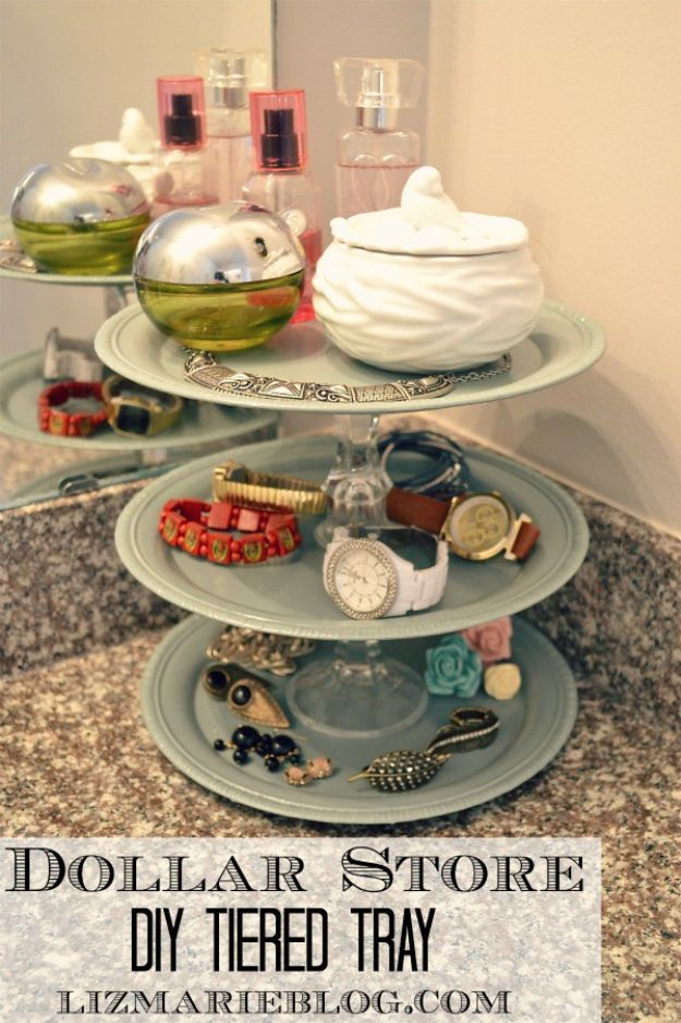 Dollar Store Organizing Ideas - DIY Tiered Tray - Easy Organization Projects from Dollar Tree and Dollar Stores - Quick Closet Makeovers, Pantry Storage, Shoe Box Projects, Tension Rods, Car and Household Cleaning - Hacks and Tips for Organizing on a Budget - Cheap Idea for Reducing Clutter around the House, in the Kitchen and Bedroom http://diyjoy.com/dollar-store-organizing-ideas