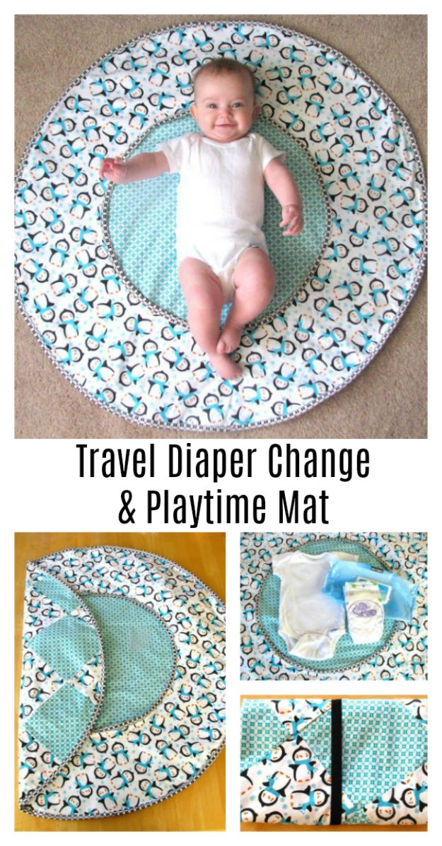 DIY Sewing Projects for the Home - DIY Travel Diaper Changing Pad & Playtime Mat - Easy DIY Christmas Gifts and Ideas for Making Kitchen, Bedroom and Bathroom Decor - Free Step by Step Tutorial to Sew