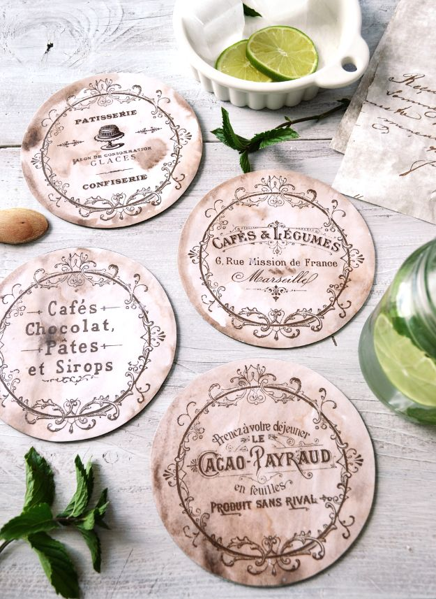 DIY Ideas With Old CD - DIY Vintage French CD Coasters - Do It Yourself Crafts and Projects Using Old Compact Discs - Recycle Jewelry, Room Decoration Mosaic, Coasters, Garden Art and DIY Home Decor Using Broken DVD - Photo Album, Wall Art and Mirror - Cute and Easy DIY Gifts for Birthday and Christmas Holidays http://diyjoy.com/diy-ideas-old-cd-compact-disc