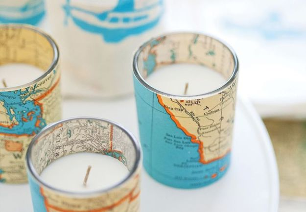 DIY Ideas With Maps - DIY Vintage Map Votive Candles - Easy Crafts, Home Decor, Art and Gifts Your Can Make With A Map - Pinboard, Canvas, Painting, Paper Flowers, Signs Projects