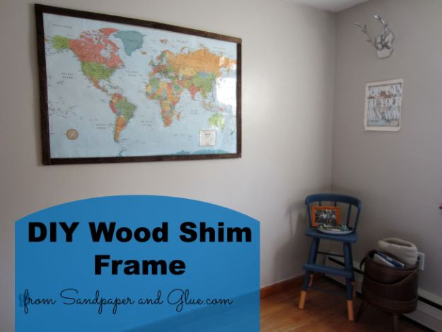 DIY Ideas With Maps - DIY Wood Shim Frame - Easy Crafts, Home Decor, Art and Gifts Your Can Make With A Map - Pinboard, Canvas, Painting, Paper Flowers, Signs Projects