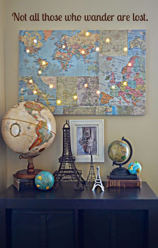DIY Ideas With Maps - DIY World Map With Lights - Easy Crafts, Home Decor, Art and Gifts Your Can Make With A Map - Pinboard, Canvas, Painting, Paper Flowers, Signs Projects