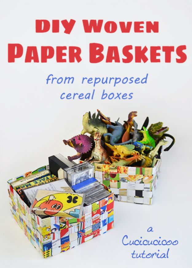 Cool DIY Ideas With Cereal Boxes - DIY Woven Paper Baskets - Easy Organizing Ideas, Cute Kids Crafts and Creative Ways to Make Things Out of A Cereal Box - Cheap Gifts, DIY School Supplies and Storage Ideas http://diyjoy.com/diy-ideas-cereal-boxes