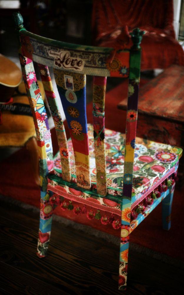 DIY Boho Decor Ideas - Decoupaged Chair - DIY Bedroom Ideas - Cheap Hippie Crafts and Bohemian Wall Art - Easy Upcycling Projects for Living Room, Bathroom, Kitchen #boho #diy #diydecor