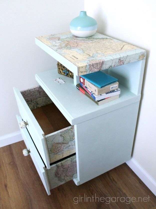 DIY Ideas With Maps - Decoupaged Map Table - Easy Crafts, Home Decor, Art and Gifts Your Can Make With A Map - Pinboard, Canvas, Painting, Paper Flowers, Signs Projects