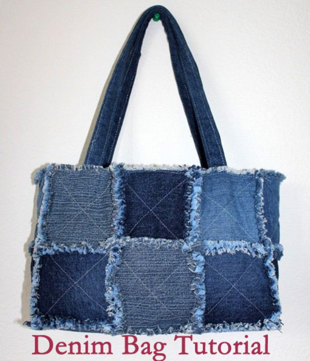 Blue Jean Upcycles - Denim Bag - Ways to Make Old Denim Jeans Into DIY Home Decor, Handmade Gifts and Creative Fashion - Transform Old Blue Jeans into Pillows, Rugs, Kitchen and Living Room Decor, Easy Sewing Projects for Beginners #sewing #diy #crafts #upcycle