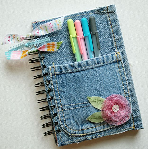 DIY Journals -Denim Covered Journal - Ideas For Making A Handmade Journal - Cover Art Tutorial, Binding Tips, Easy Craft Ideas for Kids and For Teens - Step By Step Instructions for Making From Scratch, From An Old Book - Leather, Faux Marble, Paper, Monogram, Cute Do It Yourself Gift Idea http://diyjoy.com/diy-journals