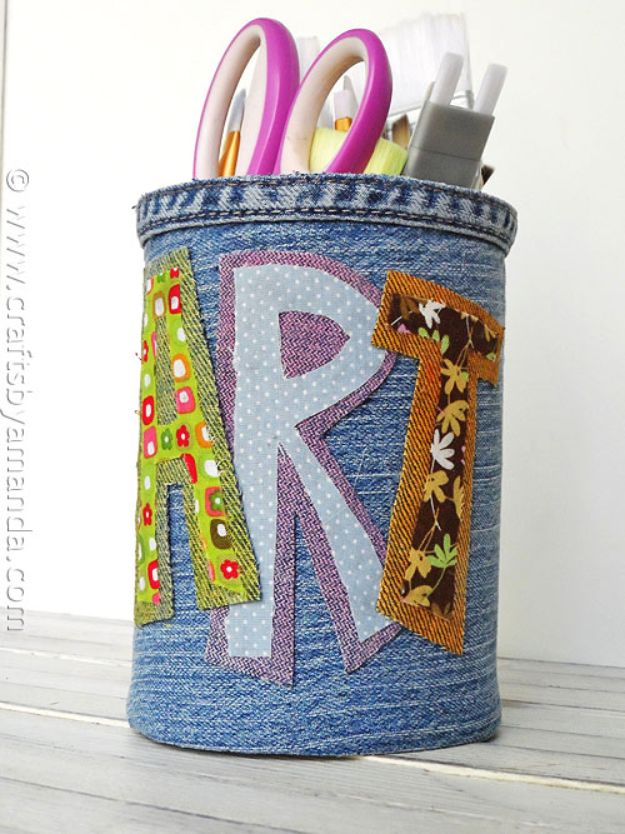 Blue Jean Upcycles - Denim Covered Pencil Can - Ways to Make Old Denim Jeans Into DIY Home Decor, Handmade Gifts and Creative Fashion - Transform Old Blue Jeans into Pillows, Rugs, Kitchen and Living Room Decor, Easy Sewing Projects for Beginners http://diyjoy.com/diy-blue-jeans-upcyle-ideas