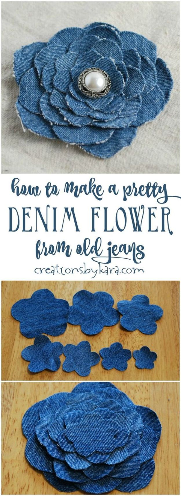 Blue Jean Upcycles - Denim Flower From Old Jeans - Ways to Make Old Denim Jeans Into DIY Home Decor, Handmade Gifts and Creative Fashion - Transform Old Blue Jeans into Pillows, Rugs, Kitchen and Living Room Decor, Easy Sewing Projects for Beginners #sewing #diy #crafts #upcycle