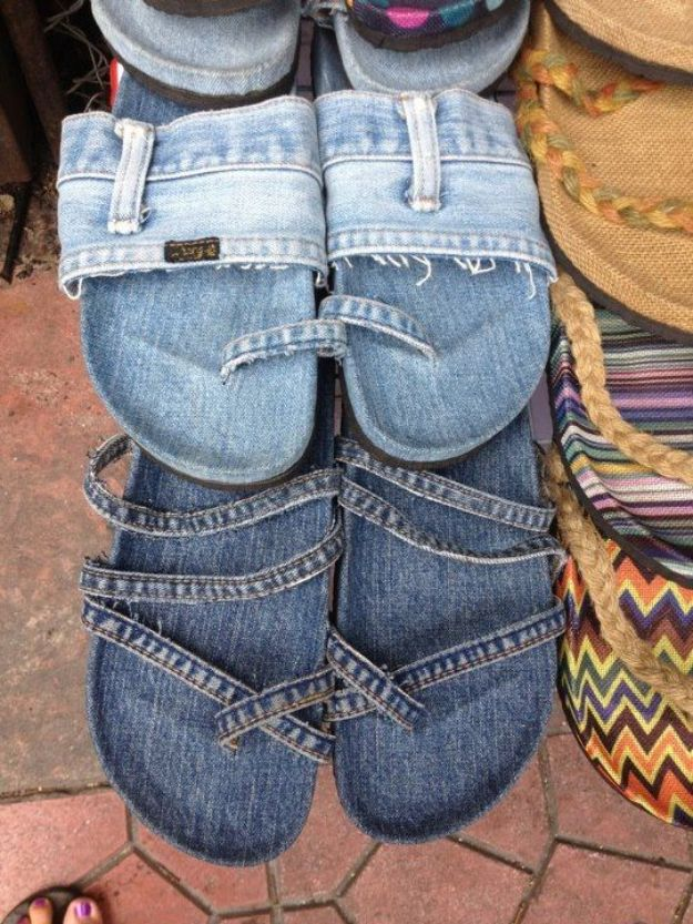 Blue Jean Upcycles - Denim Slippers - Ways to Make Old Denim Jeans Into DIY Home Decor, Handmade Gifts and Creative Fashion - Transform Old Blue Jeans into Pillows, Rugs, Kitchen and Living Room Decor, Easy Sewing Projects for Beginners #sewing #diy #crafts #upcycle