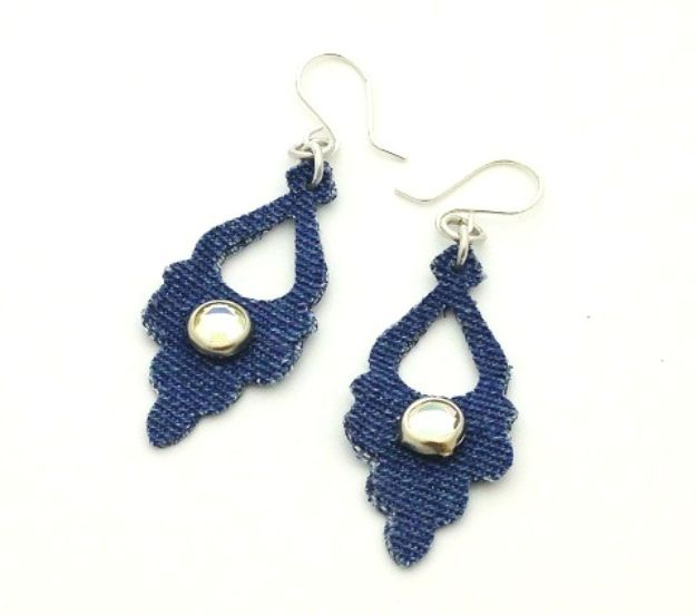 Blue Jean Upcycles - Die-Cut Denim Earrings - Ways to Make Old Denim Jeans Into DIY Home Decor, Handmade Gifts and Creative Fashion - Transform Old Blue Jeans into Pillows, Rugs, Kitchen and Living Room Decor, Easy Sewing Projects for Beginners #sewing #diy #crafts #upcycle