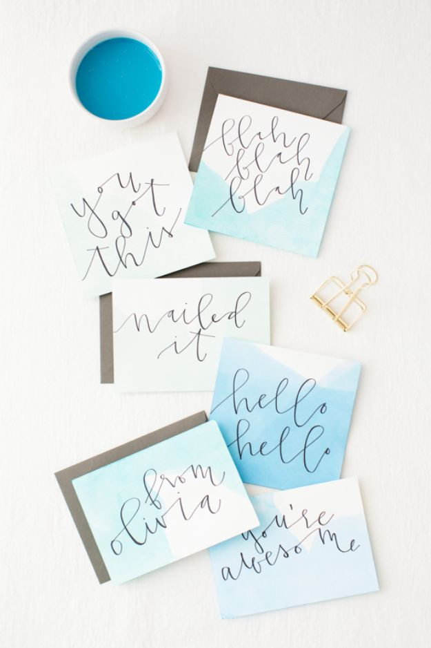 DIY Stationery Ideas - Dip Dye Watercolor Stationery - Easy Projects for Making, Decorating and Embellishing Stationary - Cute Personal Papers and Cards With Creative Art Ideas and Designs - Monogram and Brush Lettering Tips and Tutorials for Envelopes and Notebook - Stencil, Marble, Paint and Ink, Emboss Tutorials - A Handmade Card Set or Box Makes An Awesome DIY Gift Idea - Printables and Cool Ideas for Kids http://diyjoy.com/diy-stationery-ideas