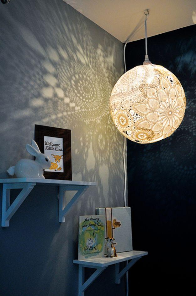 DIY Boho Decor Ideas - Doily Lamp - DIY Bedroom Ideas - Cheap Hippie Crafts and Bohemian Wall Art - Easy Upcycling Projects for Living Room, Bathroom, Kitchen #boho #diy #diydecor