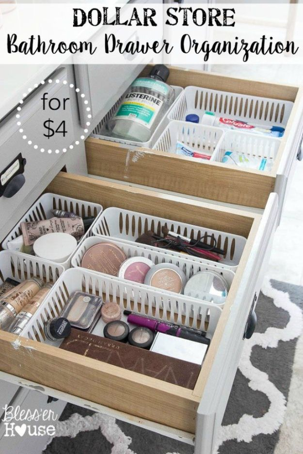 Dollar Store Organizing Ideas - Dollar Store Bathroom Drawer Organization - Easy Organization Projects from Dollar Tree and Dollar Stores - Quick Closet Makeovers, Pantry Storage, Shoe Box Projects, Tension Rods, Car and Household Cleaning - Hacks and Tips for Organizing on a Budget - Cheap Idea for Reducing Clutter around the House, in the Kitchen and Bedroom http://diyjoy.com/dollar-store-organizing-ideas