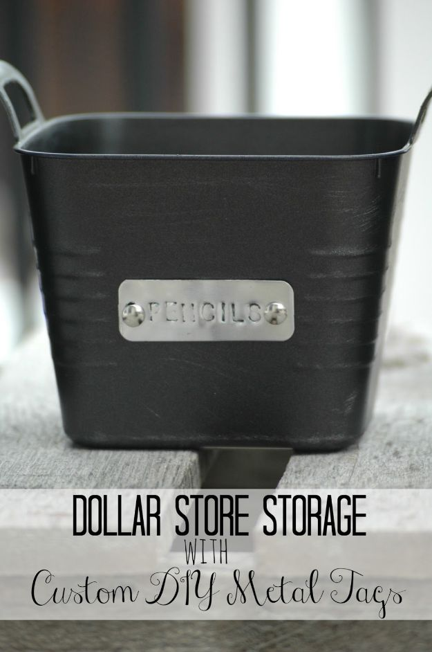 Dollar Store Organizing Ideas - Dollar Store Storage Bins with Custom Metal Tags - Easy Organization Projects from Dollar Tree and Dollar Stores - Quick Closet Makeovers, Pantry Storage, Shoe Box Projects, Tension Rods, Car and Household Cleaning - Hacks and Tips for Organizing on a Budget - Cheap Idea for Reducing Clutter around the House, in the Kitchen and Bedroom http://diyjoy.com/dollar-store-organizing-ideas