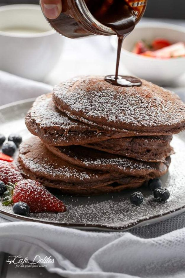 Best Pancake Recipes - Double Chocolate Brownie Pancakes - Homemade Pancakes With Banana, Berries, Fruit and Maple Syrup - How To Make Pancake Mix at Home - Gluten Free, Low Fat and Healthy Recipes - Breakfast and Brunch Recipe Ideas - Silver Dollar, Buttermilk, Make Ahead and Quick Versions With Strawberries and Blueberries #pancakes #pancakerecipes #recipeideas #breakfast #breakfastrecipes http://diyjoy.com/pancake-recipes