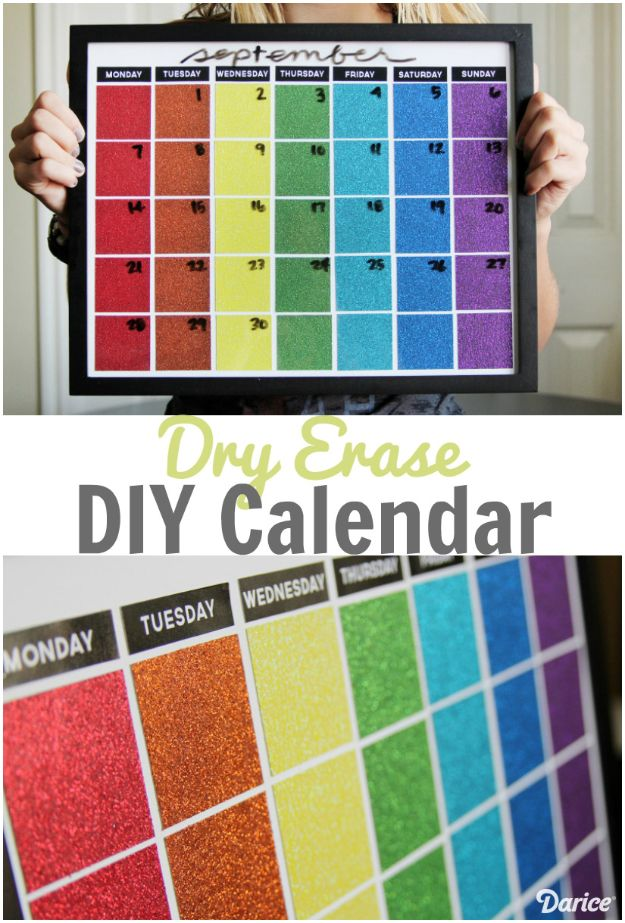 DIY Calendars - Dry Erase DIY Calendar - Homemade Calender Ideas That Make Great Cheap Gifts for Christmas - Desk, Wall and Glass Dry Erase Organizing Calendar Projects With Step by Step Tutorials - Paint, Stamp, Magnetic, Family Planner and Organizer #diycalendar #diyideas #crafts #calendars #organizing #diygifts #calendars #diyideas