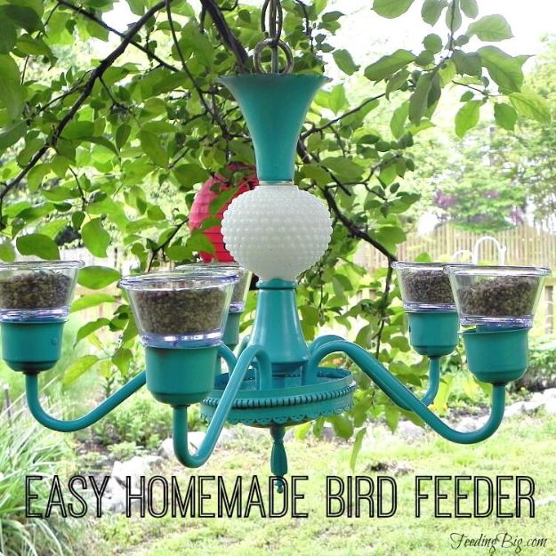 DIY Bird Feeders - Easy Chandelier Bird Feeder - Easy Do It Yourself Homemade Bird Feeder Ideas from Mason Jar, Wooden, Wine Bottle, Milk Jug, Plastic, Dollar Store Supplies - Squirrel Proof, Unique and Creative Tutorials That Make Cool DIY Gifts #diyideas #birds