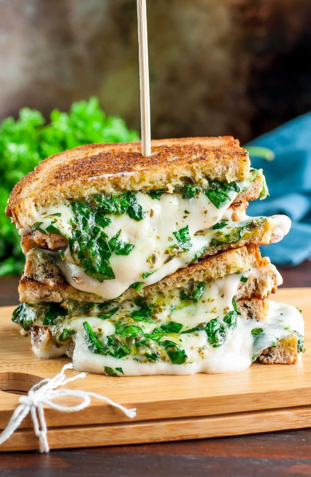 Best Recipes for the Cheese Lover - Easy Cheesy Vegan Spinach Pesto Grilled Cheese - Easy Recipe Ideas With Cheese - Homemade Appetizers, Dips, Dinners, Snacks, Pasta Dishes, Healthy Lunches and Soups Made With Your Favorite Cheeses - Ricotta, Cheddar, Swiss, Parmesan, Goat Chevre, Mozzarella and Feta Ideas - Grilled, Healthy, Vegan and Vegetarian #cheeserecipes #recipes #recipeideas #cheese #cheeserecipe