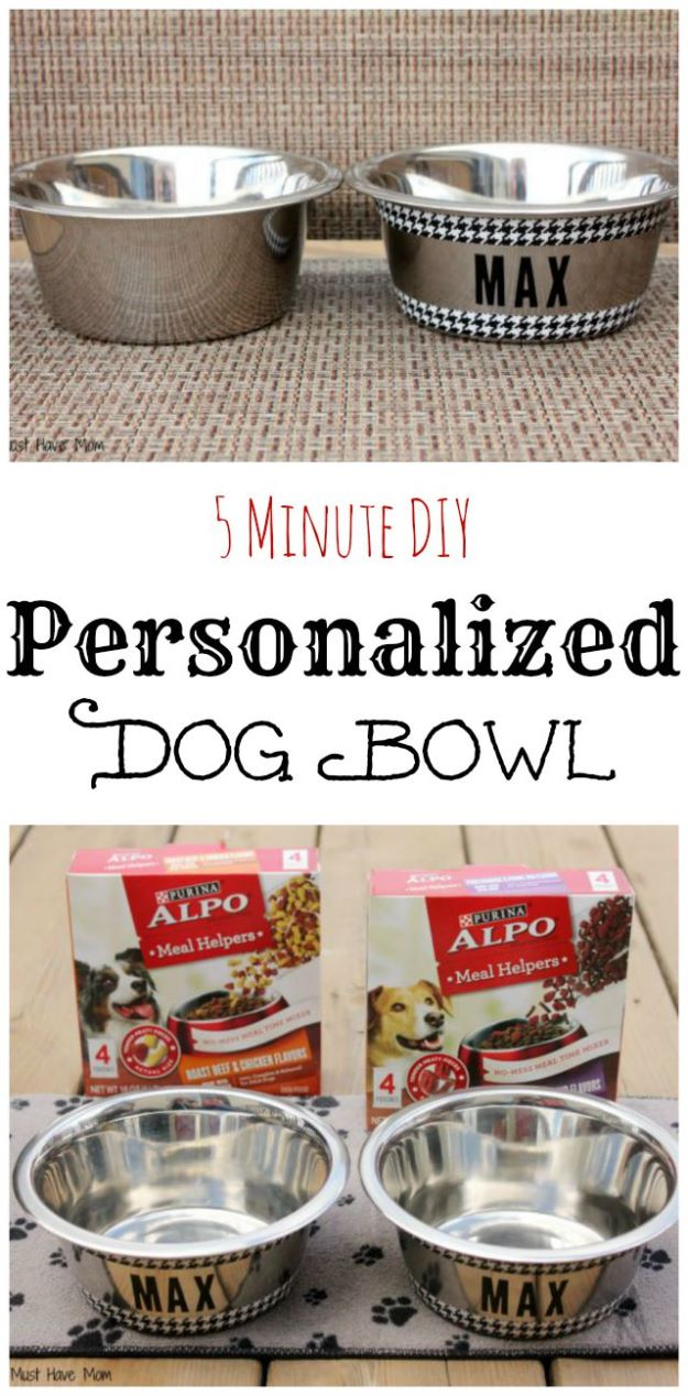 DIY Pet Bowls And Feeding Stations - Easy DIY Personalized Dog Bowls - Easy Ideas for Serving Dog and Cat Food, Ways to Raise and Store Bowls - Organize Your Dog Food and Water Bowl With These Cute and Creative Ideas for Dogs and Cats- Monogram, Painted, Personalized and Rustic Crafts and Projects http://diyjoy.com/diy-pet-bowls-feeding-station