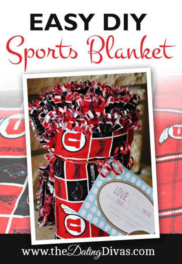 DIY Gifts for Him - Easy DIY Sports Blanket - Homemade Gift Ideas for Guys - DYI Christmas Gift for Dad, Boyfriend, Husband Brother - Easy and Cheap Handmade Presents Birthday https://diyjoy.com/diy-gifts-for-him