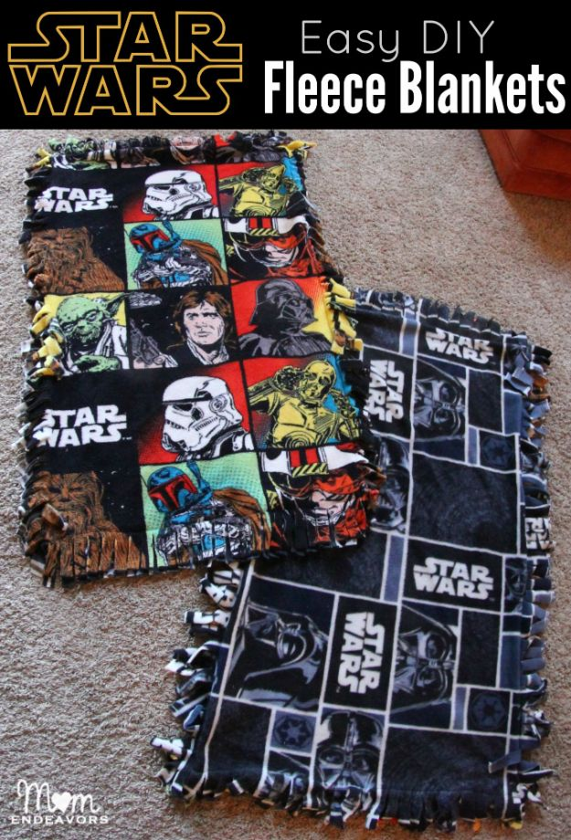 DIY Throw Blankets - Easy DIY Star Wars Fleece Blankets - How to Make Easy Throws and Blanket - Fleece Fabrics, No Sew Tutorial, Crochet, Boho, Fur, Cotton, Flannel Ideas #diyideas #diydecor #diy