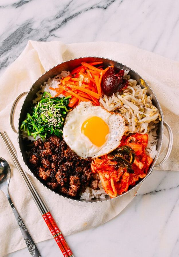 Best Recipes With Ground Beef - Easy Korean Beef Bibimbap - Easy Dinners and Ground Beef Recipe Ideas - Quick Lunch Salads, Casseroles, Tacos, One Skillet Meals - Healthy Crockpot Foods With Hamburger Meat - Mexican Casserole, Instant Pot Carne Molida, Low Carb and Keto Diet - Rice, Pasta, Potatoes and Crescent Rolls #groundbeef #beefrecipes #beedrecipe #dinnerideas #dinnerrecipes http://diyjoy.com/best-recipes-ground-beef