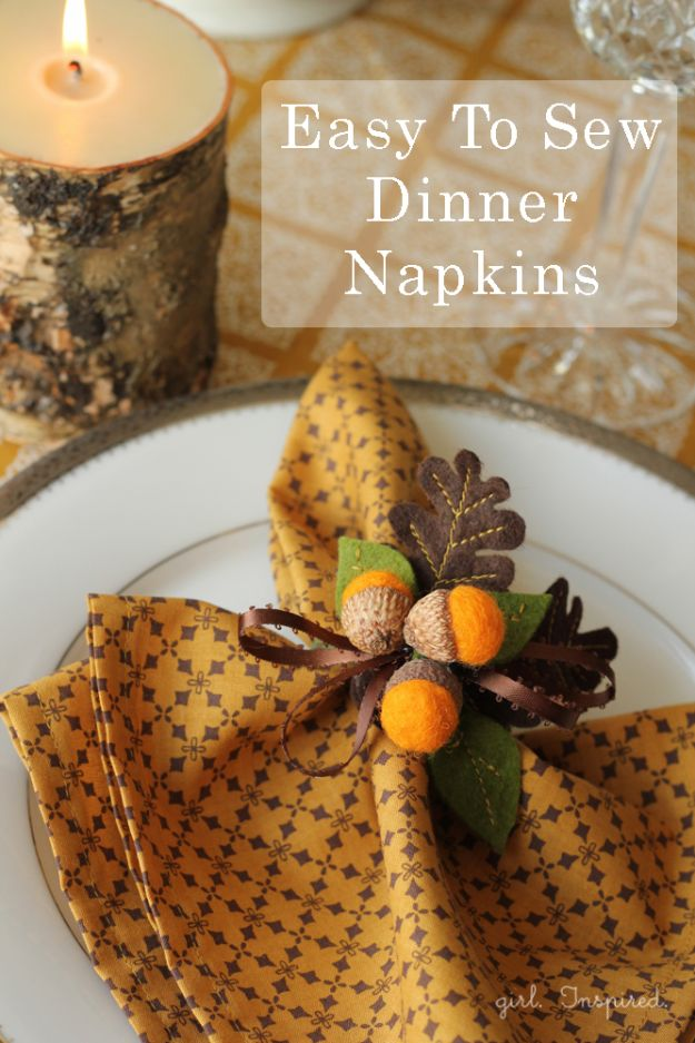 DIY Sewing Projects for the Home - Easy To Sew Dinner Napkins - Easy DIY Christmas Gifts and Ideas for Making Kitchen, Bedroom and Bathroom Decor - Free Step by Step Tutorial to Sew
