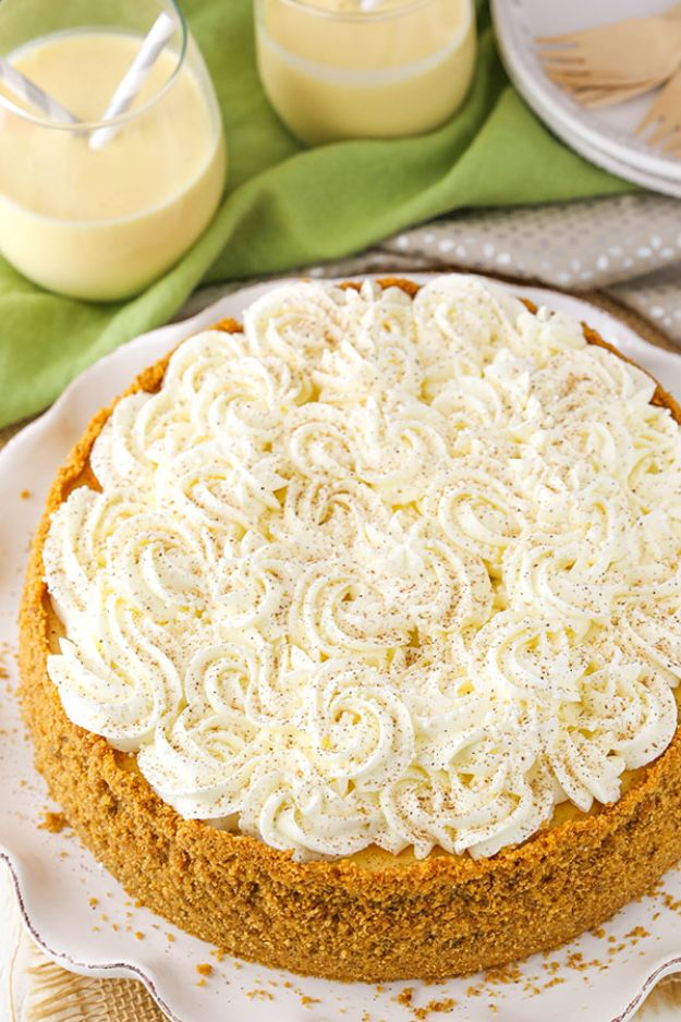 Best Recipes for the Cheese Lover - Eggnog Cheesecake - Easy Recipe Ideas With Cheese - Homemade Appetizers, Dips, Dinners, Snacks, Pasta Dishes, Healthy Lunches and Soups Made With Your Favorite Cheeses - Ricotta, Cheddar, Swiss, Parmesan, Goat Chevre, Mozzarella and Feta Ideas - Grilled, Healthy, Vegan and Vegetarian #cheeserecipes #recipes #recipeideas #cheese #cheeserecipe