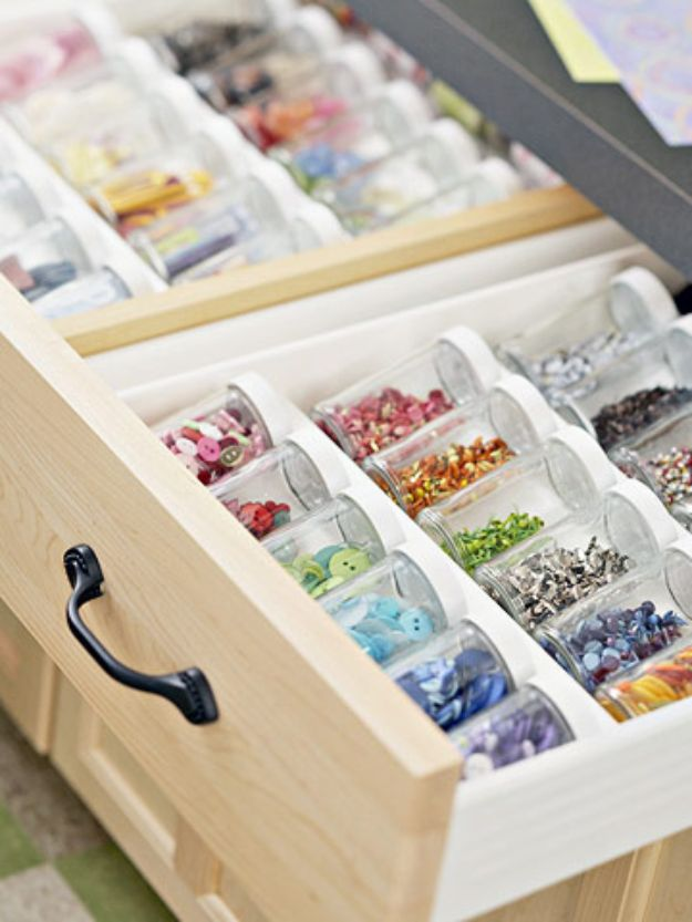 Craft Room Organization Ideas - Embellishment Storage - DIY Dollar Store Projects for Crafts - Budget Ways to Declutter While Organizing Supplies - Shelves, IKEA Hacks, Small Space Ideas