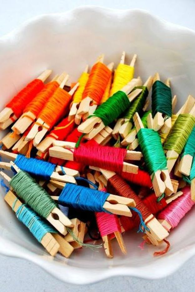 Craft Room Organization Ideas - Embroidery Floss Clothespins - DIY Dollar Store Projects for Crafts - Budget Ways to Declutter While Organizing Supplies - Shelves, IKEA Hacks, Small Space Ideas