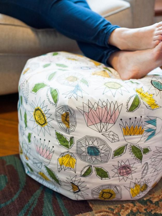 DIY Sewing Projects for the Home - Fabric Pouf Ottoman - Easy DIY Christmas Gifts and Ideas for Making Kitchen, Bedroom and Bathroom Decor - Free Step by Step Tutorial to Sew