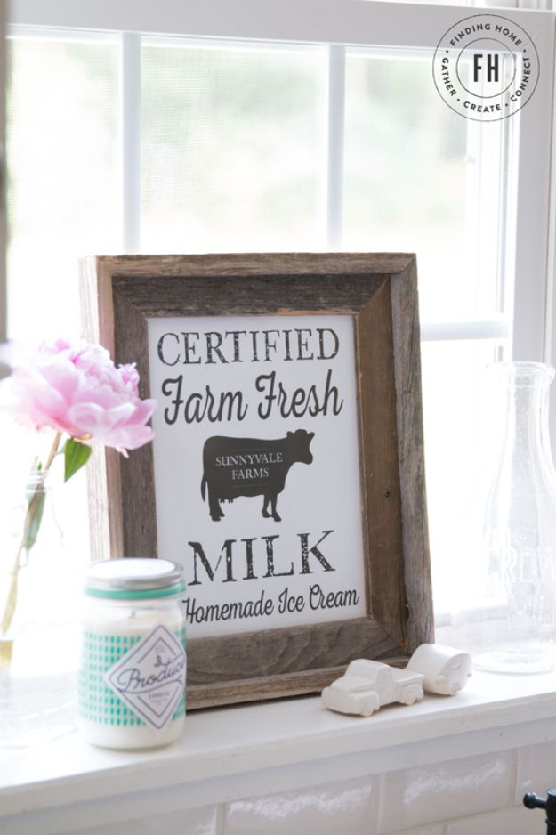 Free Printables For Your Walls - Farm Fresh Milk Vintage Printable - Free Printable - Easy Canvas Ideas With Free Downloadable Artwork and Quote Sayings - Best Free Prints for Wall Art and Picture to Print for Home and Bedroom Decor - Signs for the Home, Organization, Office - Quotes for Bedroom and Kitchens, Vintage Bathroom Pictures - Downloadable Printable for Kids - DIY and Crafts by DIY JOY #wallart #freeprintables #diyideas #diyart #walldecor #diyhomedecor #freeprintables