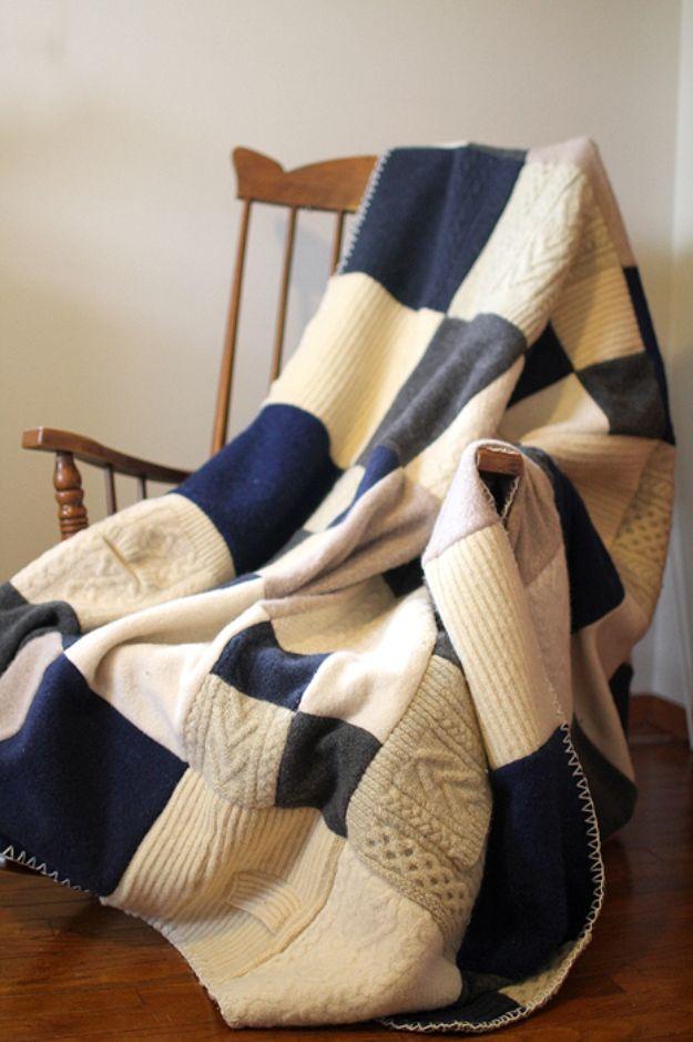 DIY Throw Blankets - Felted Wool Sweater Blanket - How to Make Easy Throws and Blanket - Fleece Fabrics, No Sew Tutorial, Crochet, Boho, Fur, Cotton, Flannel Ideas #diyideas #diydecor #diy